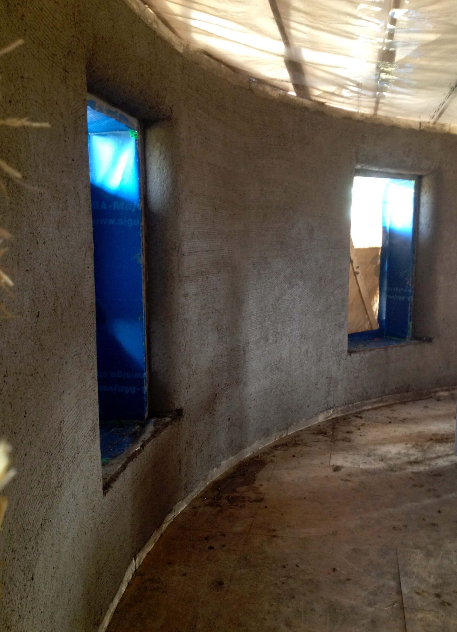 Air tightness details for straw bale walls