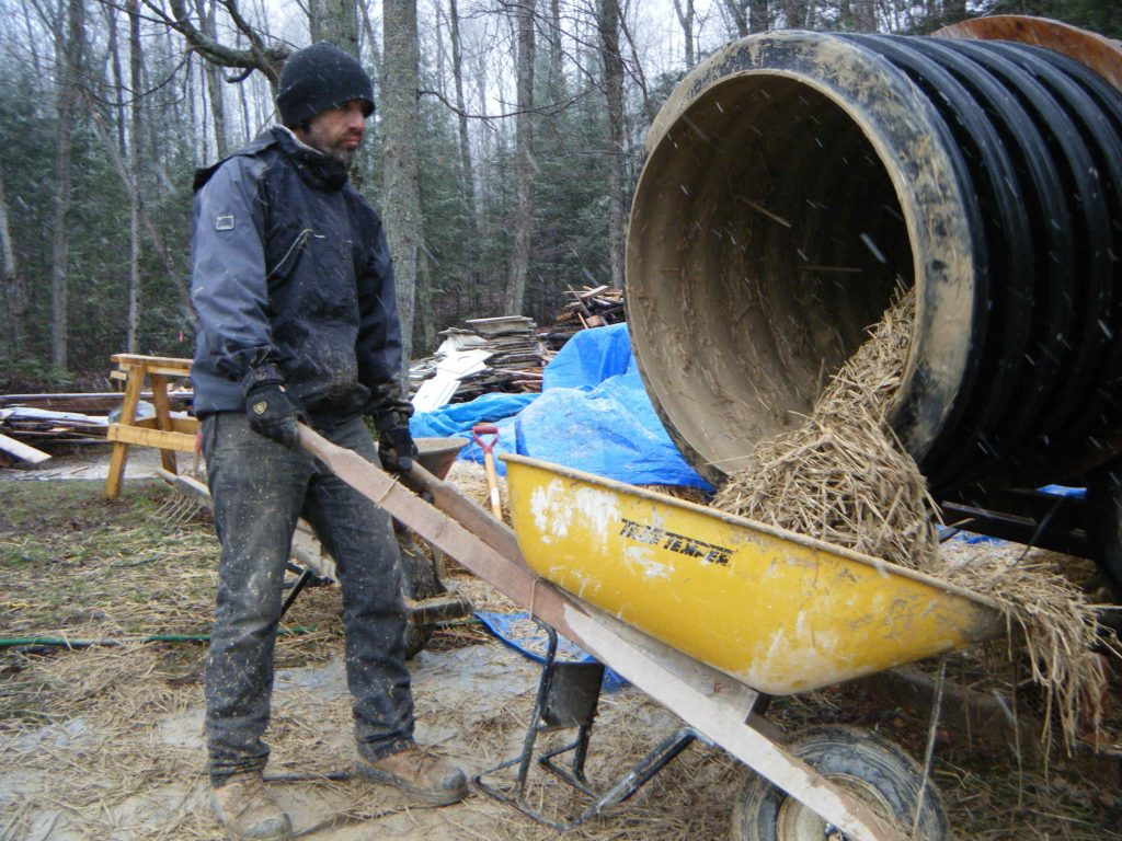 Mixing straw clay insulation in a tumbler