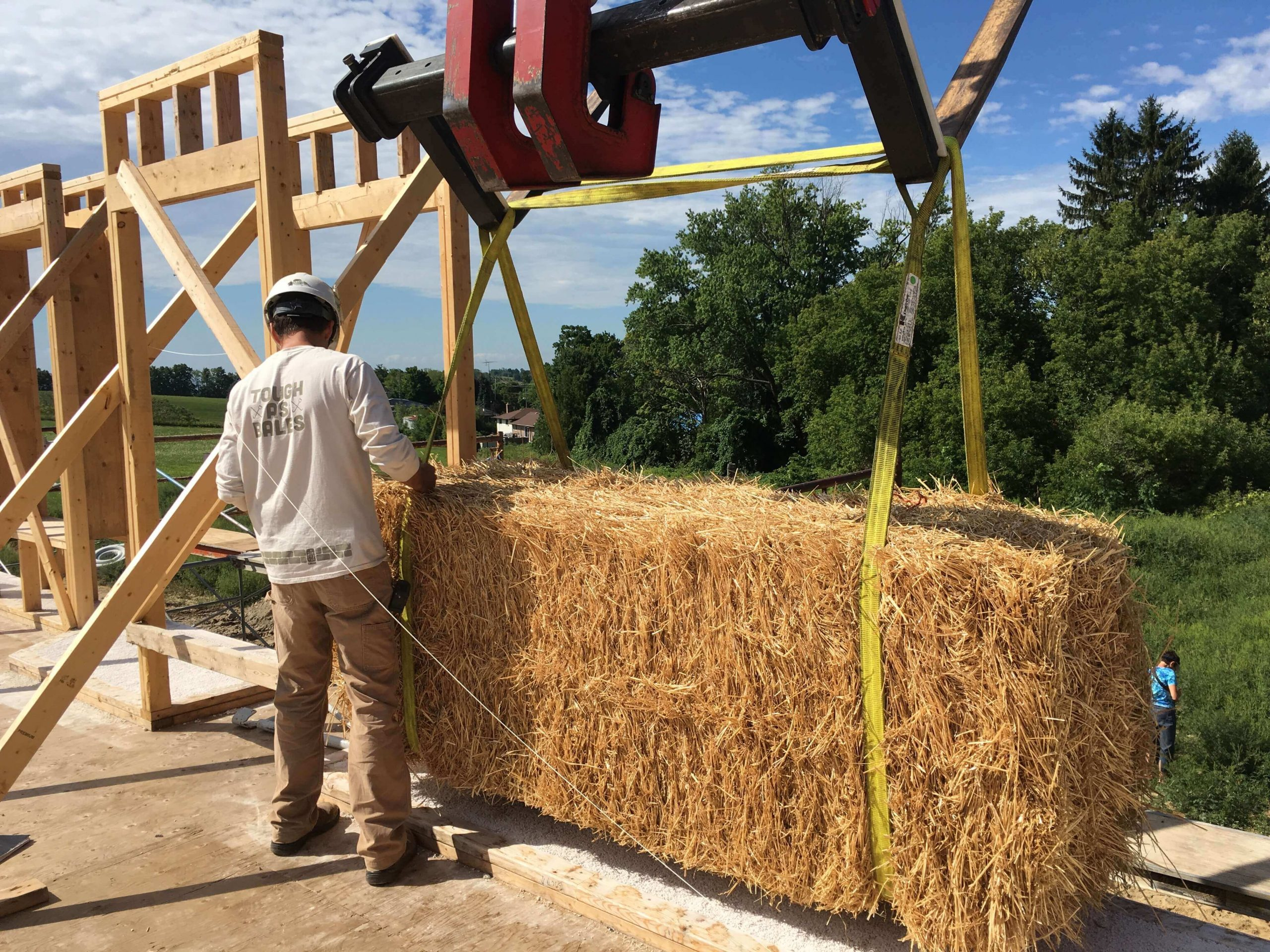 Building a jumbo straw bale wall
