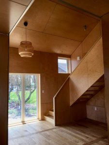 Plywood interior of house