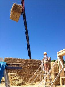 Jumbo straw bale wall construction