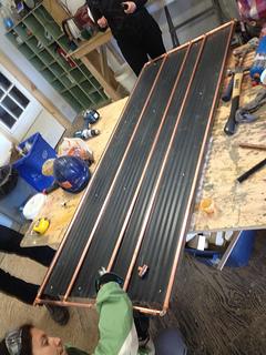 copper pipe, solar hot water, corrugated iron panel